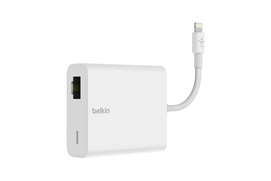 Belkin adaptateur Lightning vers Ethernet et Lightning POWER PASS TRHU - blanc